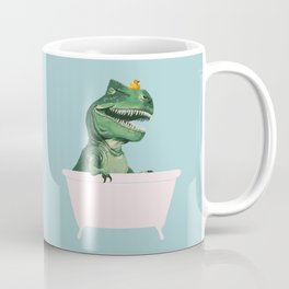 Playful T-Rex in Bathtub in Green Coffee Mug