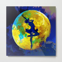 BALLET DANCER AND THE MOON Metal Print