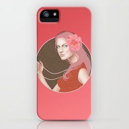 Girl Holding a Pearl Necklace iPhone Case