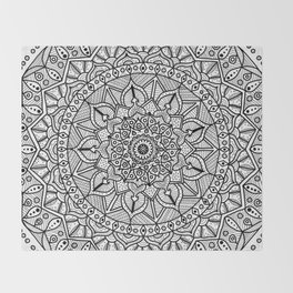 Circle of Life Mandala Black and White Throw Blanket