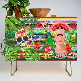 Frida Kahlo Floral Exotic Portrait Credenza