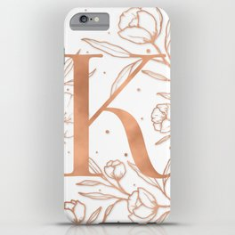 Letter K Rose Gold Monogram / Initial Botanical Illustration iPhone Case