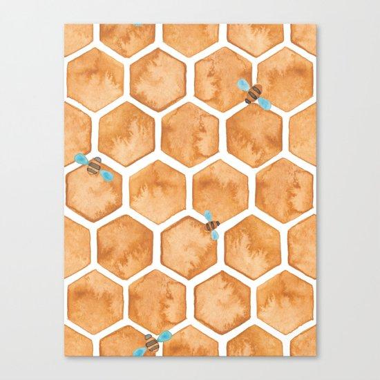 Honey Bee Hexagons Canvas Print