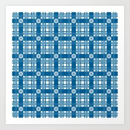 Holiday Blue Plaid with Snowflakes Art Print