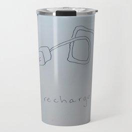 Recharge - iPhone charger pun illustration Travel Mug
