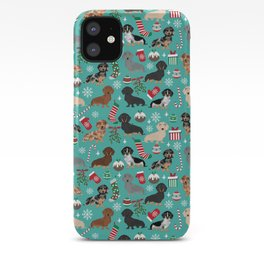 Dachshund Christmas festive doxie pet portrait holiday themed dog lover must haves iPhone Case