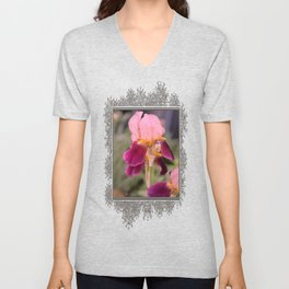 Tall Bearded Iris named Indian Chief Unisex V-Neck