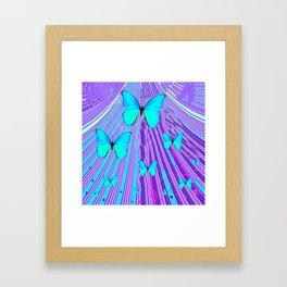 MIGRATING NEON BLUE BUTTERFLIES & PURPLE  ART Framed Art Print