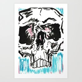 Red white and blue skull Art Print