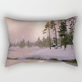 Winter River Light Rectangular Pillow