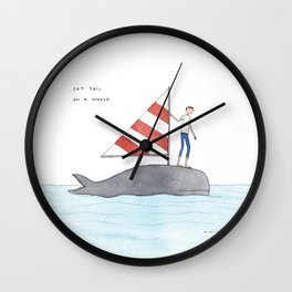 set sail on a whale Wall Clock