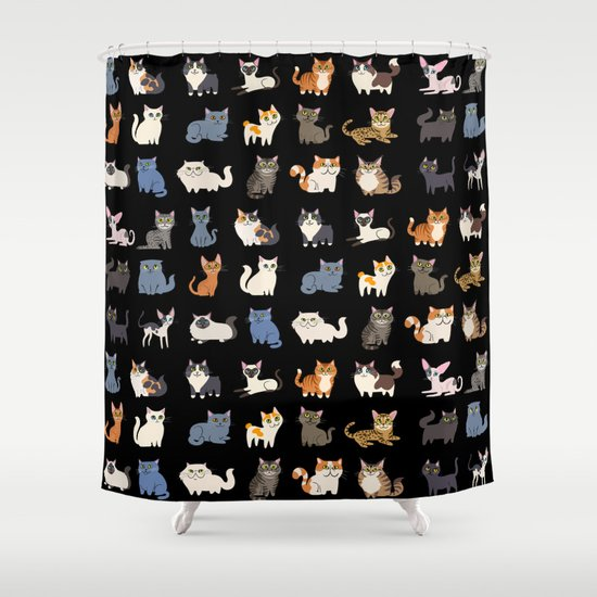 CATS On Black Shower Curtain By DoggieDrawings