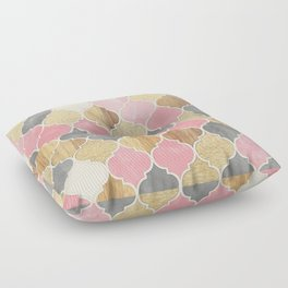 Silver Grey, Soft Pink, Wood & Gold Moroccan Pattern Floor Pillow