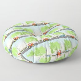Cars and trees pattern Floor Pillow