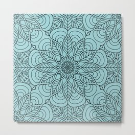 Black Flower Mandala 2 Metal Print