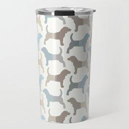 Beagle Silhouettes Pattern - Natural Colors Travel Mug