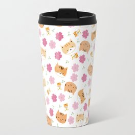 Moew play with floral and plants Travel Mug
