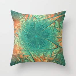 Frozen Flowers I Abstract orange flower, ice mint green water, cute floral pattern Throw Pillow