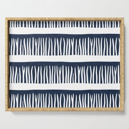 Abstract Blades of Grass in Navy Blue Serving Tray