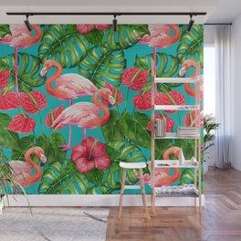 Flamingo birds and tropical garden          watercolor Wall Mural