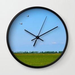 blue sky green grass Wall Clock