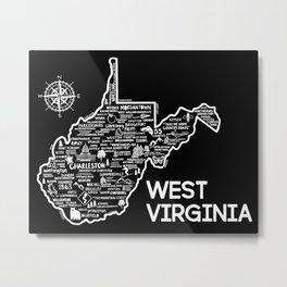 West Virginia Map Metal Print
