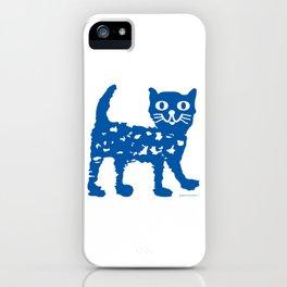 Navy blue cat pattern iPhone Case