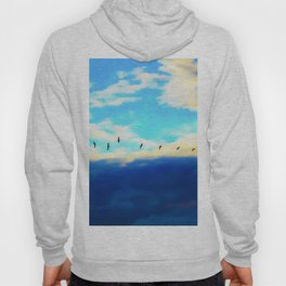 birds flying over with blue cloudy sky Hoody