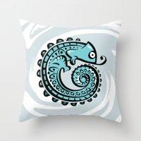 chameleon Throw Pillows featuring chameleon by Erdogan Ulker