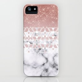 Modern Rose Gold White Marble Geometric Ombre iPhone Case