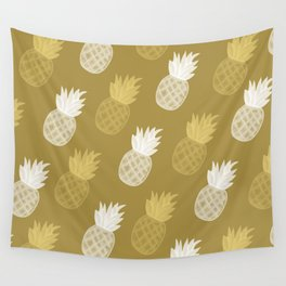 Golden pineapple pattern 2 Wall Tapestry