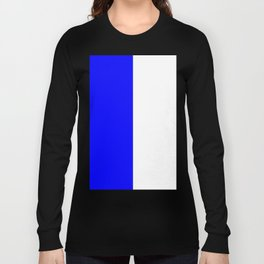 White and Blue Vertical Halves Long Sleeve T-shirt