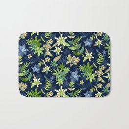 Alpine Flowers Blue - Gentian, Edelweiss Bath Mat