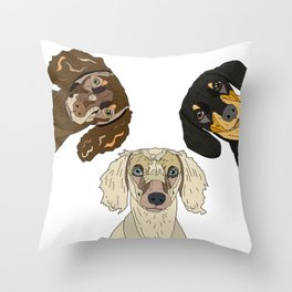 Triple Doxies Throw Pillow