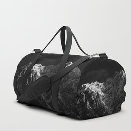 Sunlight hitting the mountains black and white Duffle Bag