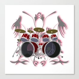 Drum Kit with Tribal Graphics Canvas Print