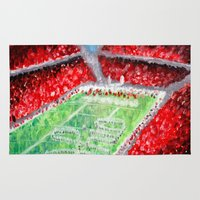 ohio state Area & Throw Rugs featuring Ohio State Buckeyes by Emily Kenney