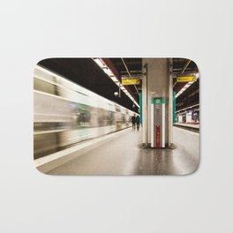 Fast train at the station Bath Mat