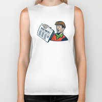 newspaper Biker Tanks featuring Newsboy Newspaper Delivery Retro by retrovectors