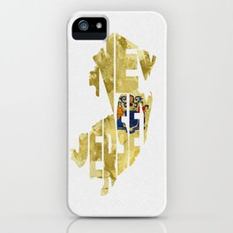 New Jersey Typographic Flag Map Art iPhone Case