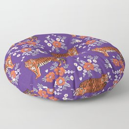 Tiger Clemson purple and orange florals university fan variety college football Floor Pillow