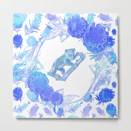 Australian Native Floral Print with Koala Metal Print