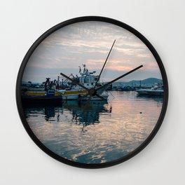 Mediterranean Harbor at Sunset Wall Clock