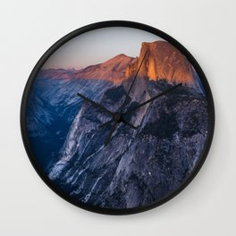 Sunkissed Half Dome at Sunset Wall Clock