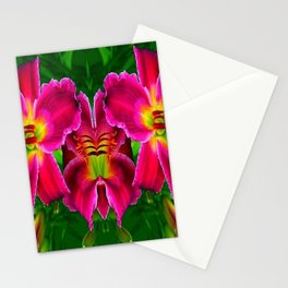 CERISE PINK LILY FLOWERS GREEN ABSTRACT Stationery Cards