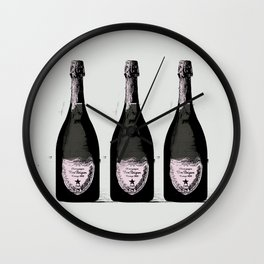 Champagne Pink party Graphic illustration Wall Clock