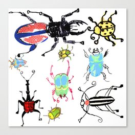 Pen and Ink Sketches of Beetles by Lorloves Design Canvas Print