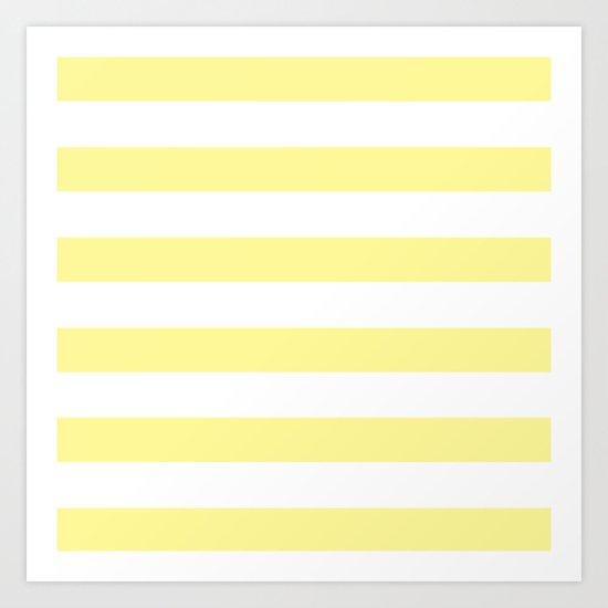 Simply Stripes in Pastel Yellow Art Print