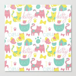 Abstract lime green pink cute cats pattern modern typography Canvas Print