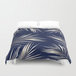 White Gold Palm Leaves on Navy Blue Duvet Cover